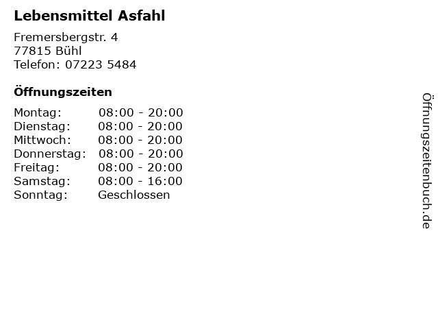 Lebensmittel Asfahl in Bühl: Adresse und Öffnungszeiten