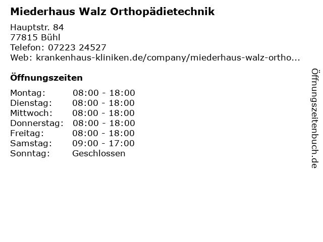Miederhaus Walz Orthopädietechnik in Bühl: Adresse und Öffnungszeiten