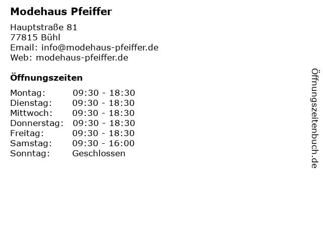 Modehaus Pfeiffer in Bühl: Adresse und Öffnungszeiten