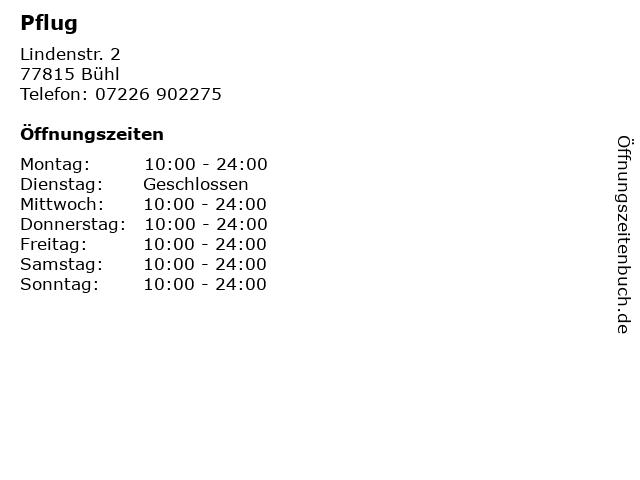 Pflug in Bühl: Adresse und Öffnungszeiten
