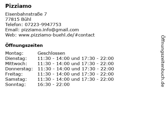 Pizziamo in Bühl: Adresse und Öffnungszeiten