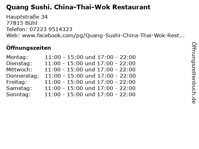 Quang Sushi. China-Thai-Wok Restaurant in Bühl: Adresse und Öffnungszeiten