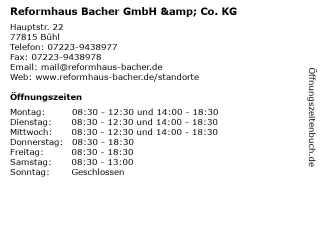 Reformhaus Bacher GmbH & Co. KG in Bühl: Adresse und Öffnungszeiten
