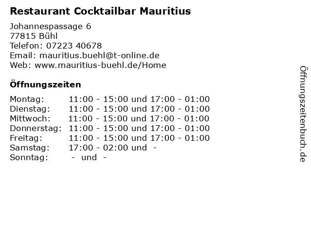Restaurant Cocktailbar Mauritius in Bühl: Adresse und Öffnungszeiten