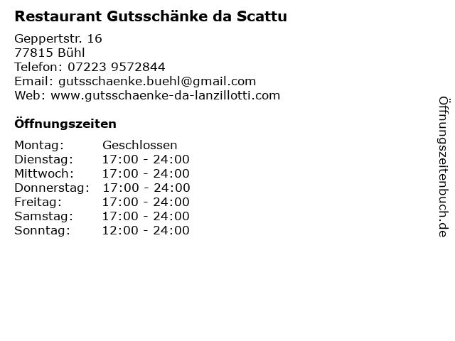 Restaurant Gutsschänke da Scattu in Bühl: Adresse und Öffnungszeiten