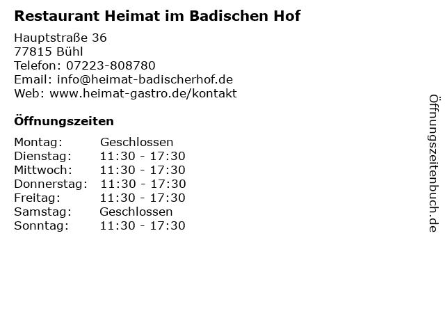 Restaurant Heimat im Badischen Hof in Bühl: Adresse und Öffnungszeiten