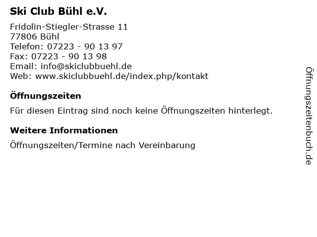 Ski Club Bühl e.V. in Bühl: Adresse und Öffnungszeiten