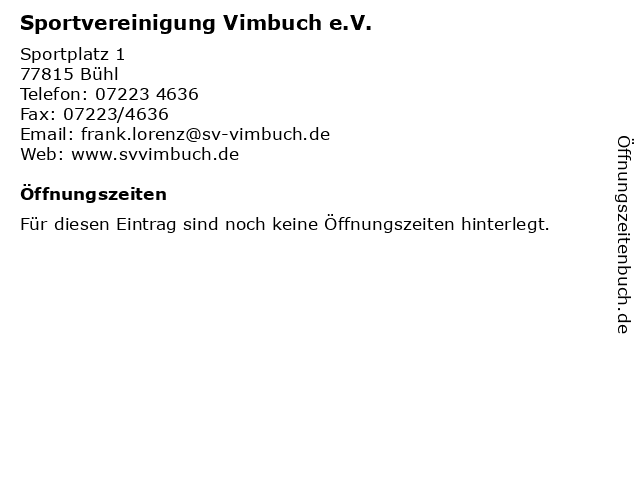 Sportvereinigung Vimbuch e.V. in Bühl: Adresse und Öffnungszeiten
