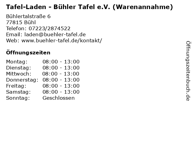 Tafel-Laden - Bühler Tafel e.V. (Warenannahme) in Bühl: Adresse und Öffnungszeiten