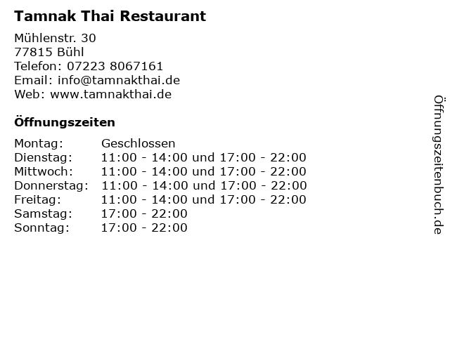 Tamnak Thai Restaurant in Bühl: Adresse und Öffnungszeiten