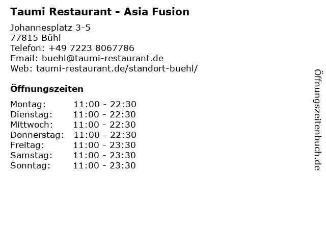 Taumi Restaurant - Asia Fusion in Bühl: Adresse und Öffnungszeiten