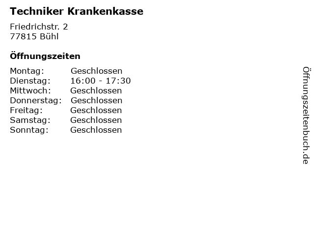 Techniker Krankenkasse in Bühl: Adresse und Öffnungszeiten