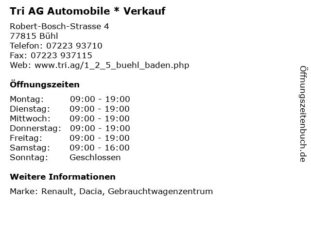 Tri AG Automobile * Verkauf in Bühl: Adresse und Öffnungszeiten