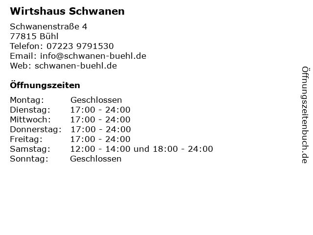 Wirtshaus Schwanen in Bühl: Adresse und Öffnungszeiten