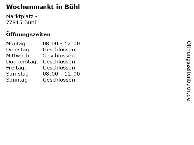Wochenmarkt in Bühl in Bühl: Adresse und Öffnungszeiten