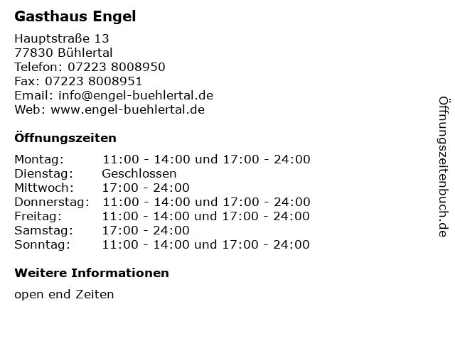 Gasthaus Engel in Bühlertal: Adresse und Öffnungszeiten