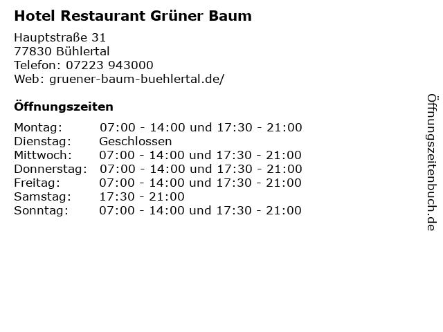 Hotel Restaurant Grüner Baum in Bühlertal: Adresse und Öffnungszeiten