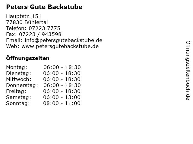 Peters Gute Backstube in Bühlertal: Adresse und Öffnungszeiten