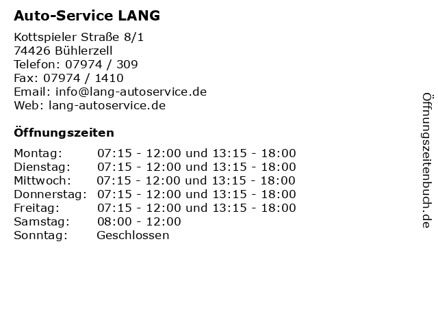 Auto-Service LANG in Bühlerzell: Adresse und Öffnungszeiten