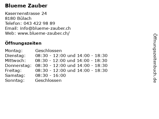Blueme Zauber in Bülach: Adresse und Öffnungszeiten