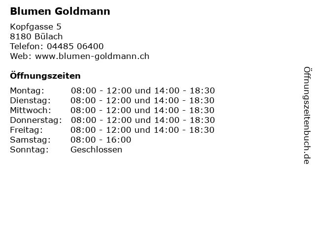 Blumen Goldmann in Bülach: Adresse und Öffnungszeiten