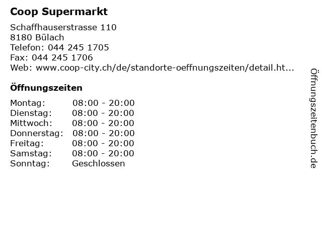 Coop Supermarkt in Bülach: Adresse und Öffnungszeiten