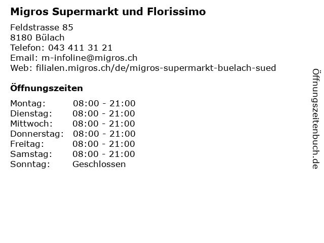 Migros Supermarkt und Florissimo in Bülach: Adresse und Öffnungszeiten