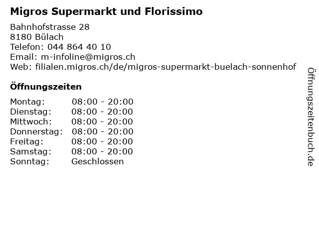 Migros Supermarkt in Bülach: Adresse und Öffnungszeiten