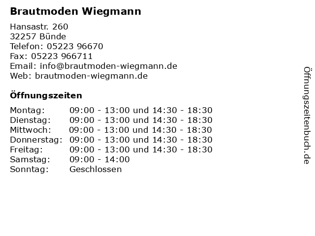 Brautmoden Wiegmann in Bünde: Adresse und Öffnungszeiten