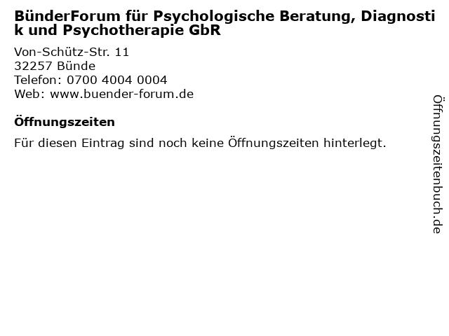 BünderForum für Psychologische Beratung, Diagnostik und Psychotherapie GbR in Bünde: Adresse und Öffnungszeiten