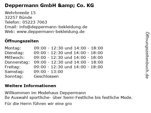 ᐅ öffnungszeiten Deppermann Gmbh Co Kg Wehrbreede 15 In