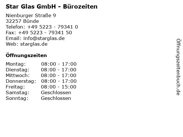 Star Glas GmbH - Bürozeiten in Bünde: Adresse und Öffnungszeiten