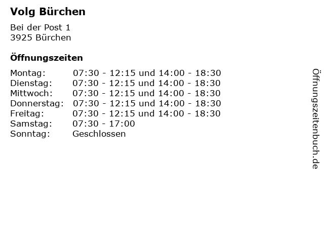 Volg Bürchen in Bürchen: Adresse und Öffnungszeiten