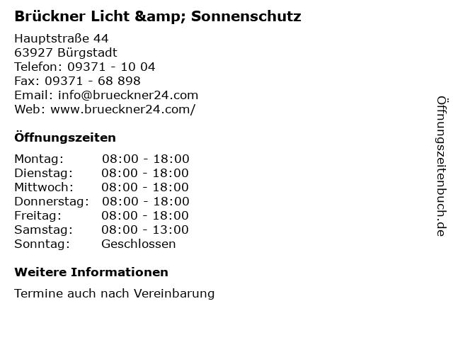 Brückner Licht & Sonnenschutz in Bürgstadt: Adresse und Öffnungszeiten