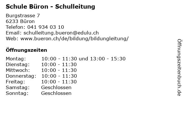 Schule Büron - Schulleitung in Büron: Adresse und Öffnungszeiten