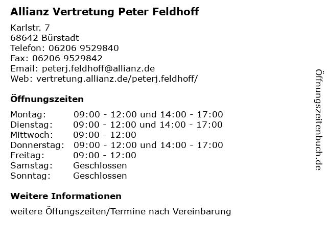Allianz Vertretung Peter Feldhoff in Bürstadt: Adresse und Öffnungszeiten