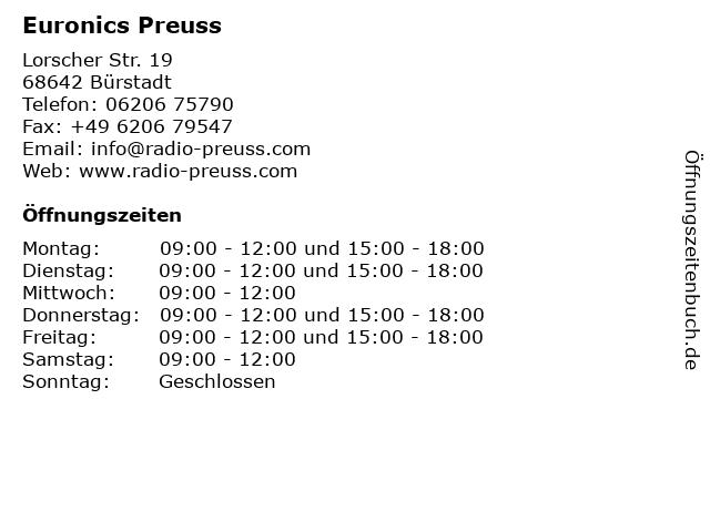 ᐅ Offnungszeiten Euronics Preuss Lorscher Str 19 In Burstadt