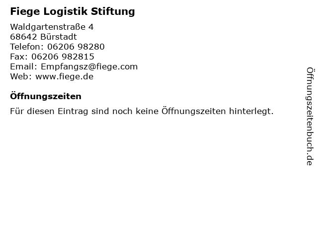 Fiege Logistik Stiftung in Bürstadt: Adresse und Öffnungszeiten