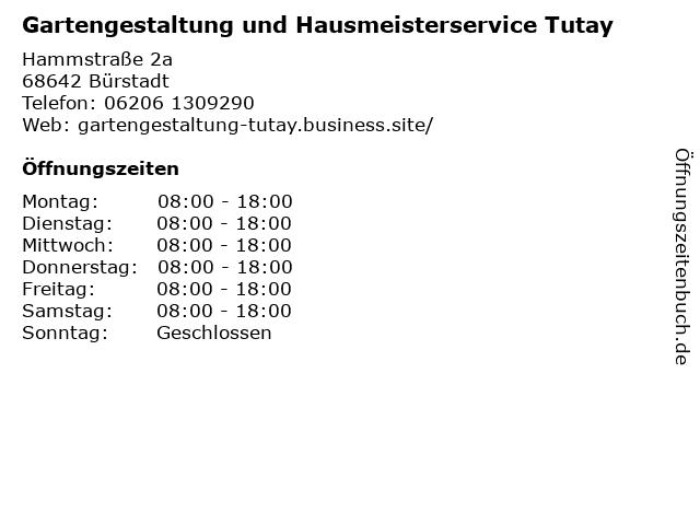 Gartengestaltung und Hausmeisterservice Tutay in Bürstadt: Adresse und Öffnungszeiten