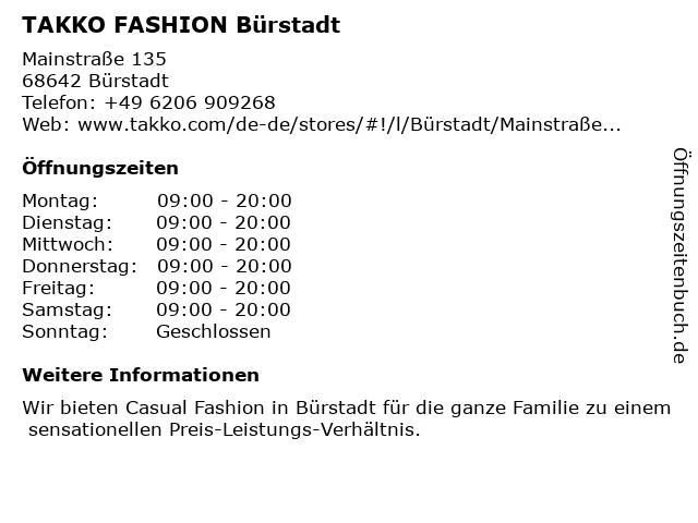 Takko Fashion in Bürstadt: Adresse und Öffnungszeiten