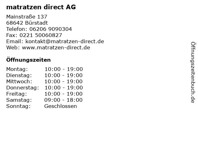 matratzen direct AG in Bürstadt: Adresse und Öffnungszeiten