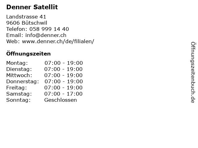 Denner Satellit in Bütschwil: Adresse und Öffnungszeiten