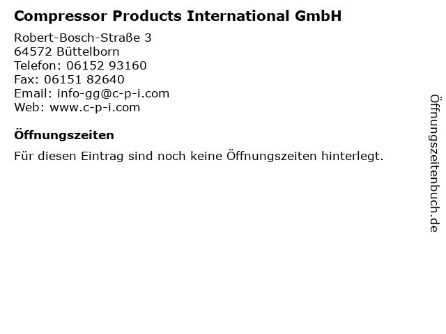 Compressor Products International GmbH in Büttelborn: Adresse und Öffnungszeiten