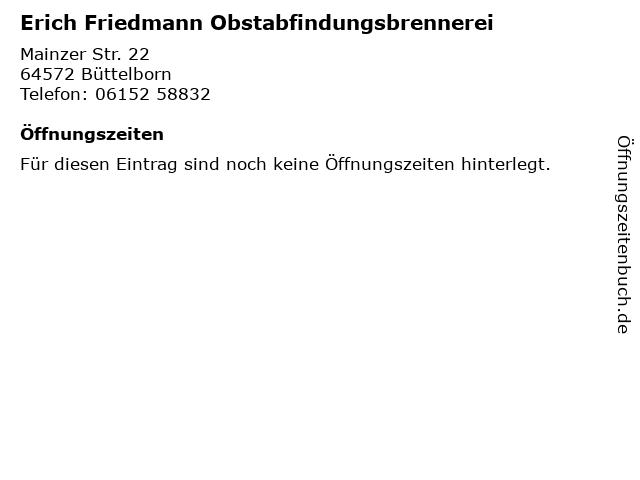 Erich Friedmann Obstabfindungsbrennerei in Büttelborn: Adresse und Öffnungszeiten