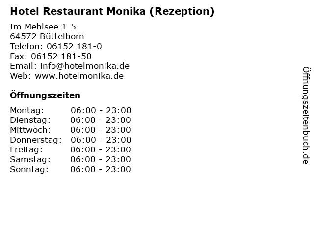 ᐅ öffnungszeiten Hotel Restaurant Monika Rezeption Im Mehlsee