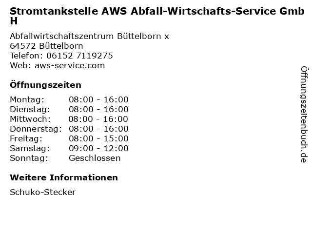 Stromtankstelle AWS Abfall-Wirtschafts-Service GmbH in Büttelborn: Adresse und Öffnungszeiten