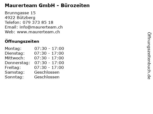 Maurerteam GmbH - Bürozeiten in Bützberg: Adresse und Öffnungszeiten