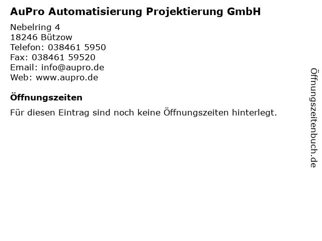 AuPro Automatisierung Projektierung GmbH in Bützow: Adresse und Öffnungszeiten