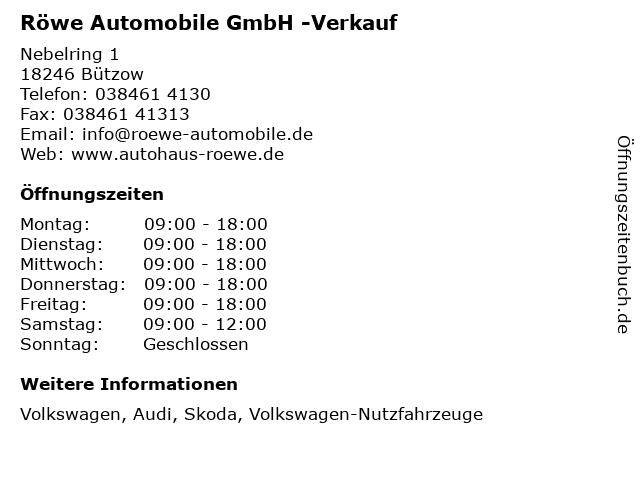 Röwe Automobile GmbH -Verkauf in Bützow: Adresse und Öffnungszeiten