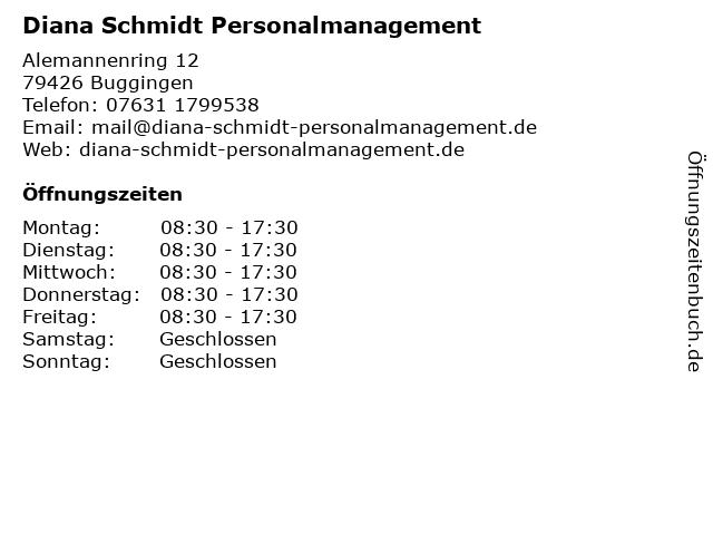 Diana Schmidt Personalmanagement in Buggingen: Adresse und Öffnungszeiten